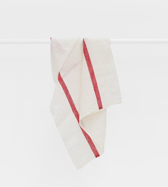 Sorrento Red Stripe White Linen Tea Towel