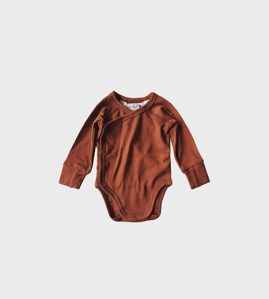 Susukoshi | Organic Long Sleeve Kimono Bodysuit | Burnt Orange