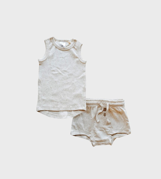Susukoshi | Organic PJ Singlet Shorties Set | Cotton Speckled