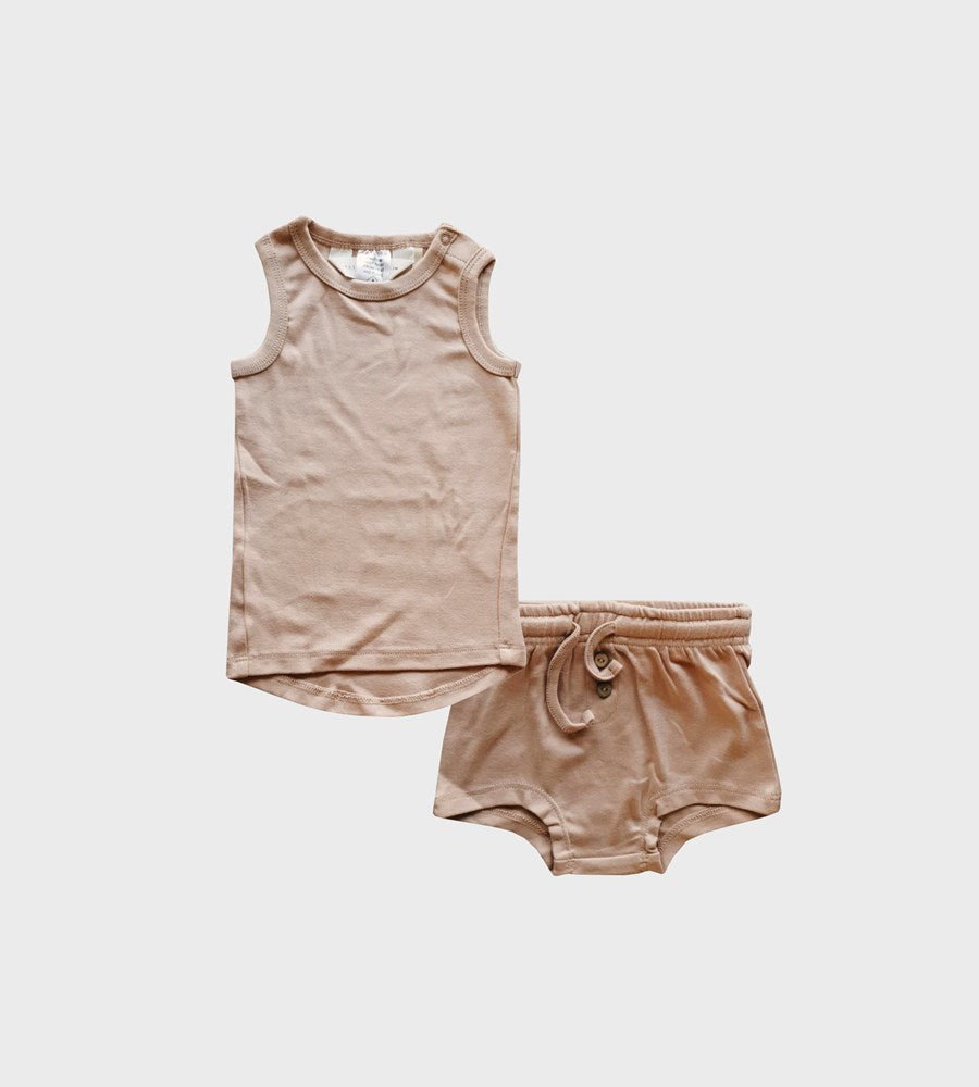 Susukoshi | Organic PJ Singlet Shorties Set | Tan