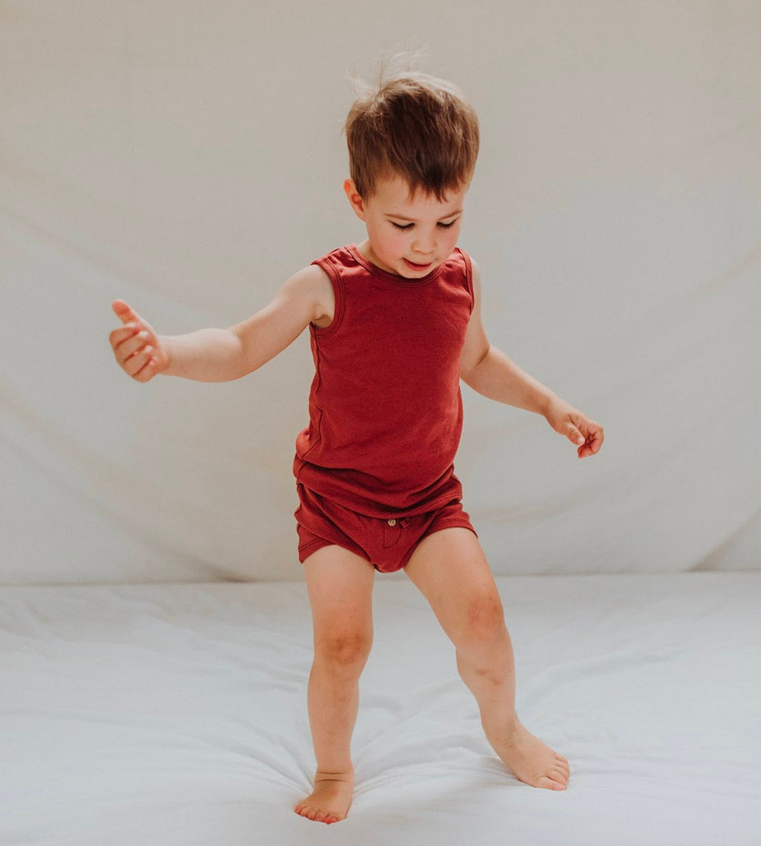 Susukoshi | Organic PJ Singlet Shorties Set | Burnt Orange