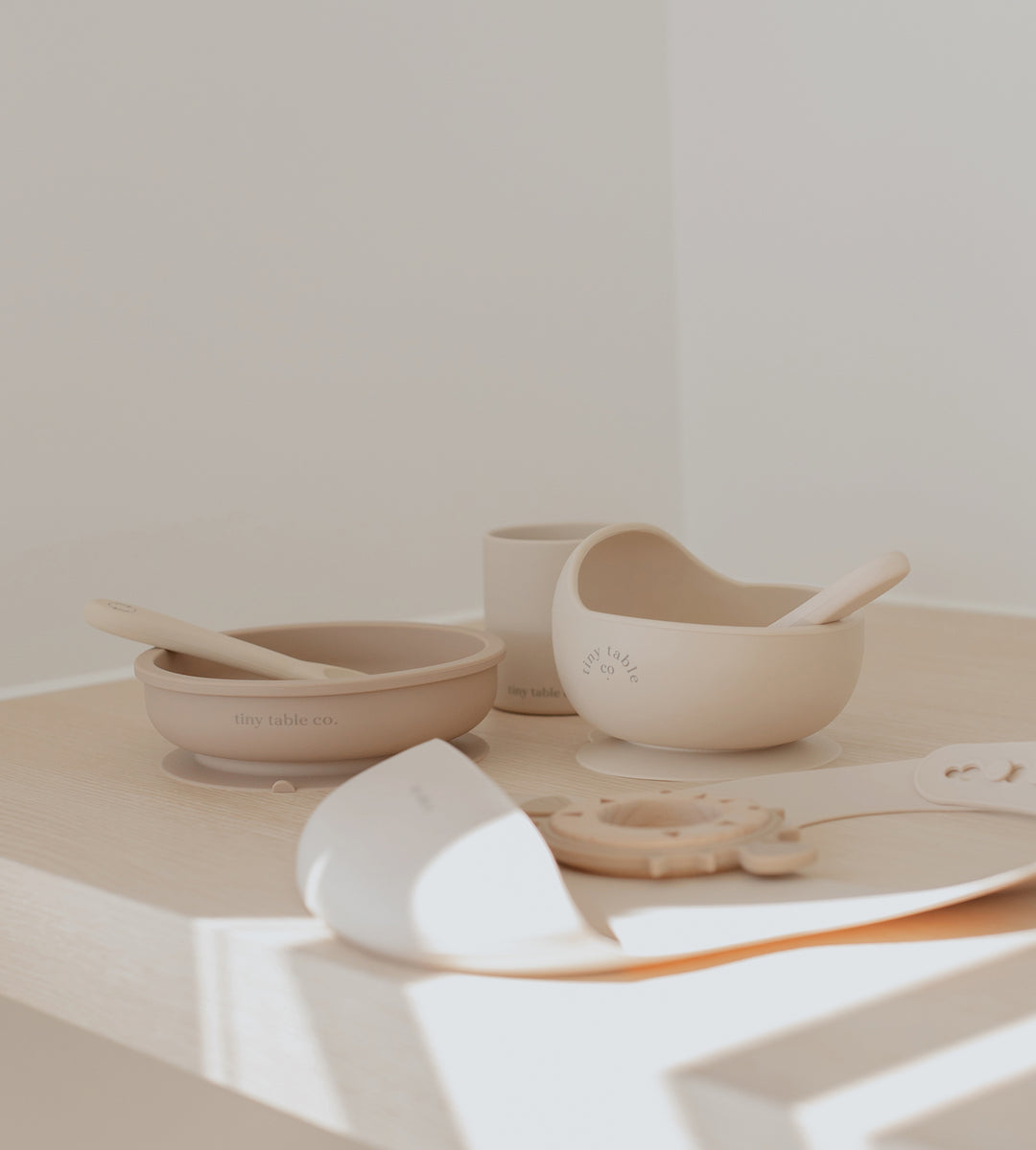 Tiny Table Co. | Suction Bowl and Spoon Set | Sand