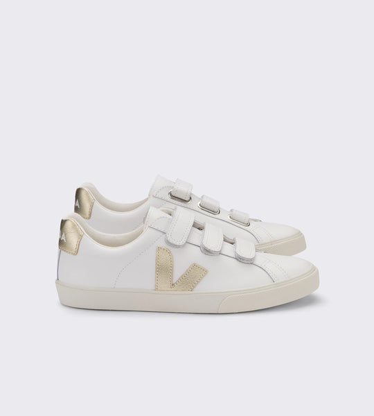 Veja 3-Lock Leather Sneaker Extra White Gold