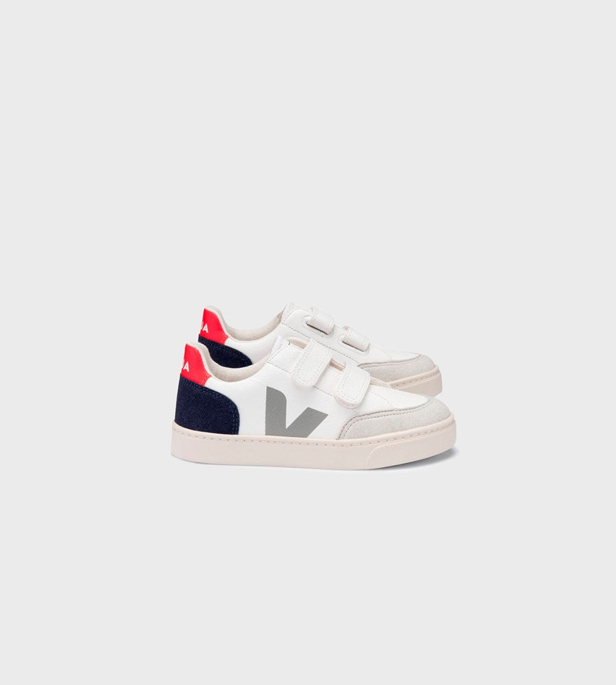 Veja | Small V12 Velcro Chromefree Leather Sneaker | Kids | Extra White Multicolour Nautico