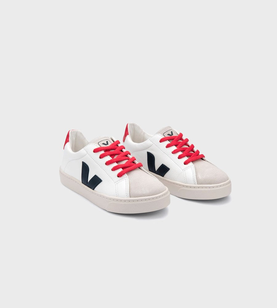 Veja | Small Esplar Lace Leather Sneaker | Junior | Extra White Nautico Pekin