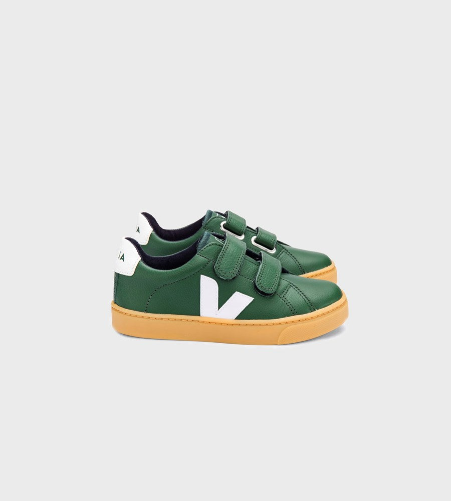 Veja | Small Esplar Velcro Chromefree Leather Sneaker | Junior | Cyprus White