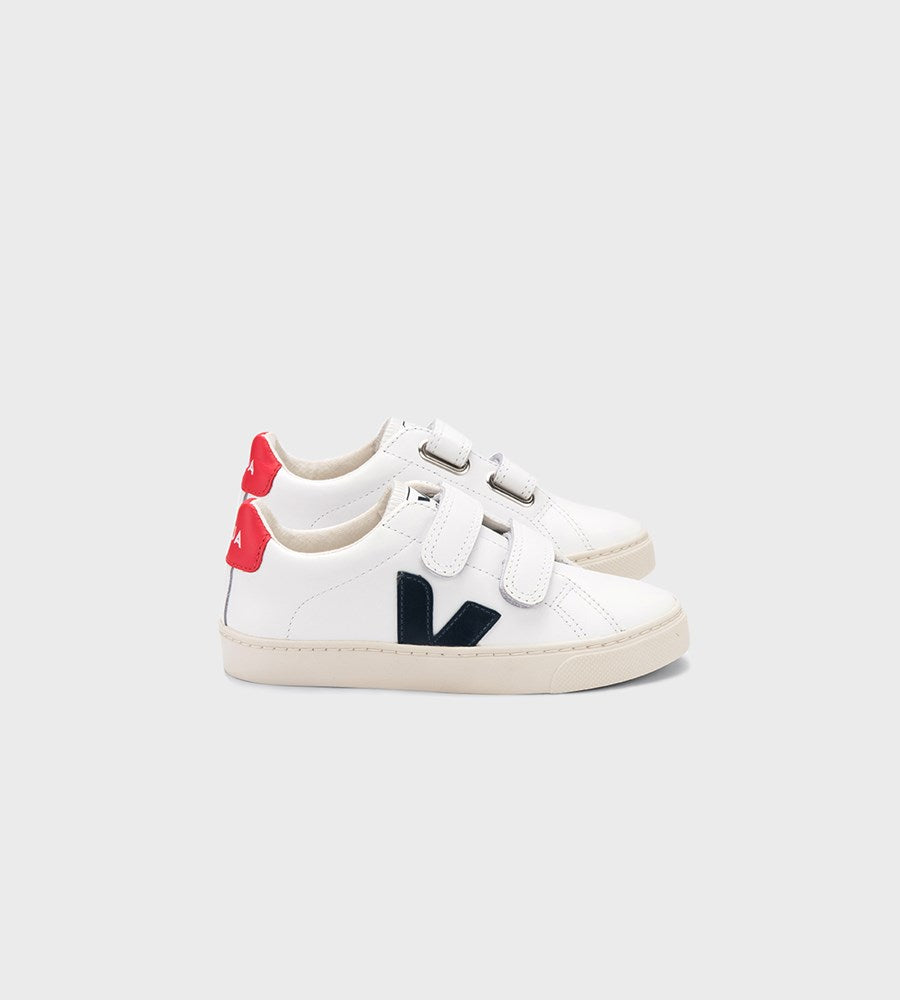 Veja | Small Esplar Velcro Leather Sneaker | Junior | Extra White Nautico Pekin