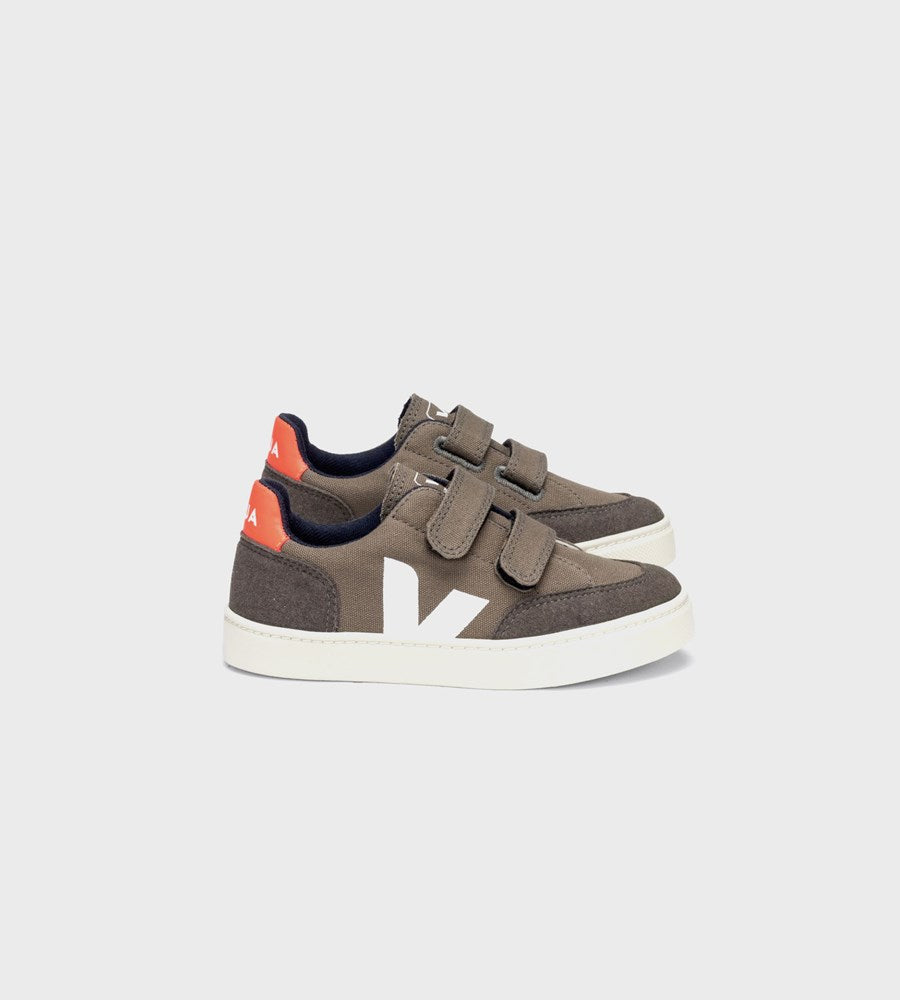 Veja | Small V12 Velcro Canvas Sneaker | Kids | Kaki Pierre Orange-Fluo