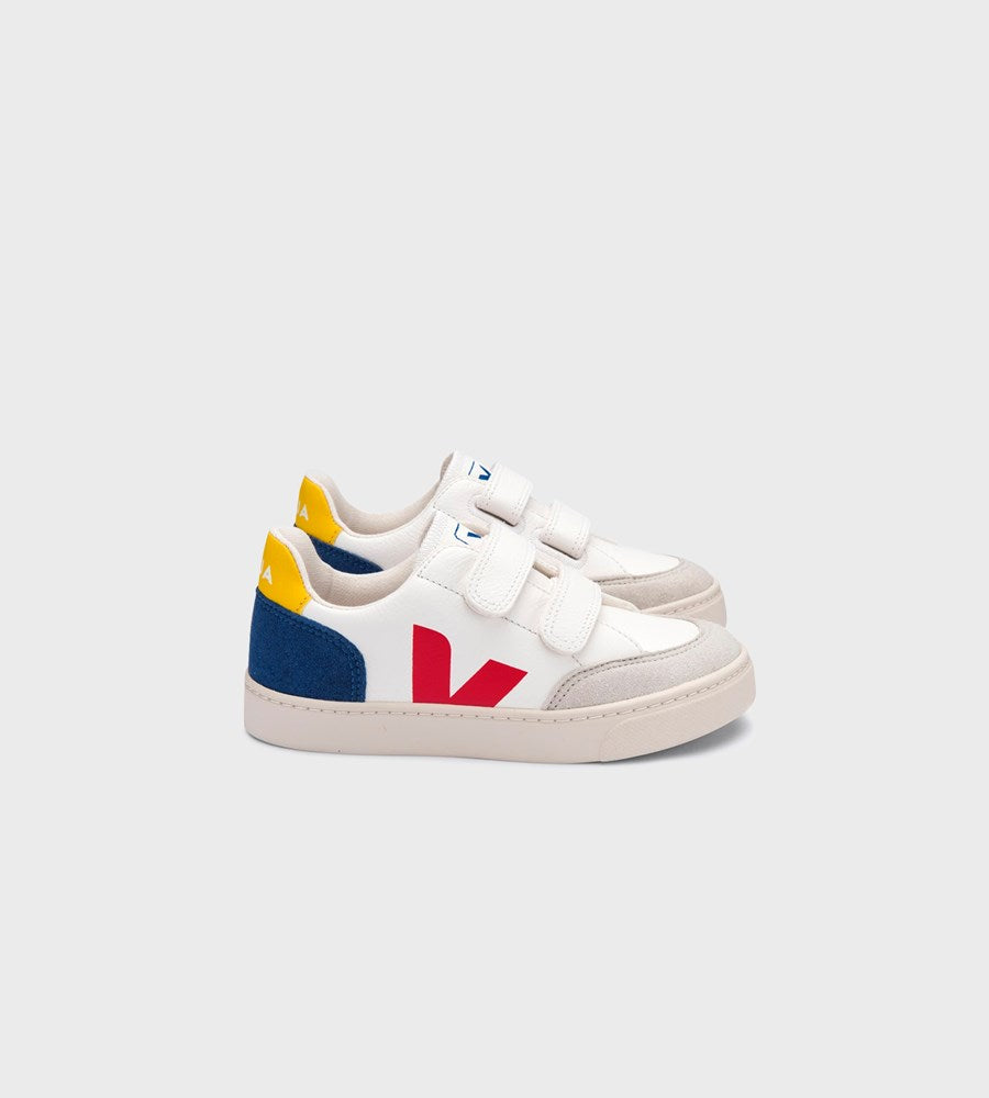 Veja | Small V12 Velcro Chromefree Leather Sneaker | Junior | Extra White Multicolour Indigo