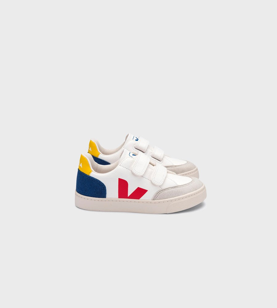 Veja | Small V12 Velcro Chromefree Leather Sneaker | Kids | Extra White Multicolour Indigo