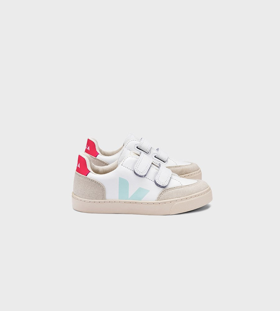 Veja | Small V12 Velcro Leather Sneaker | Junior | Extra White Menthol Rose Fluo