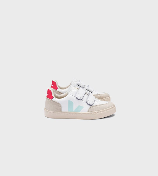 Veja | Small V12 Velcro Leather Sneaker | Kids | Extra White Menthol Rose Fluo