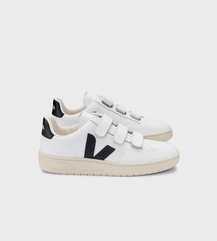 Veja | V12 Velcro Leather | Extra White Black