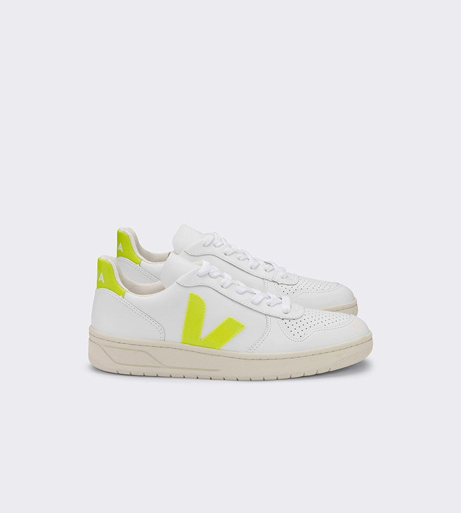 Veja V10 Leather Sneaker Womens Extra White Jaune Fluo