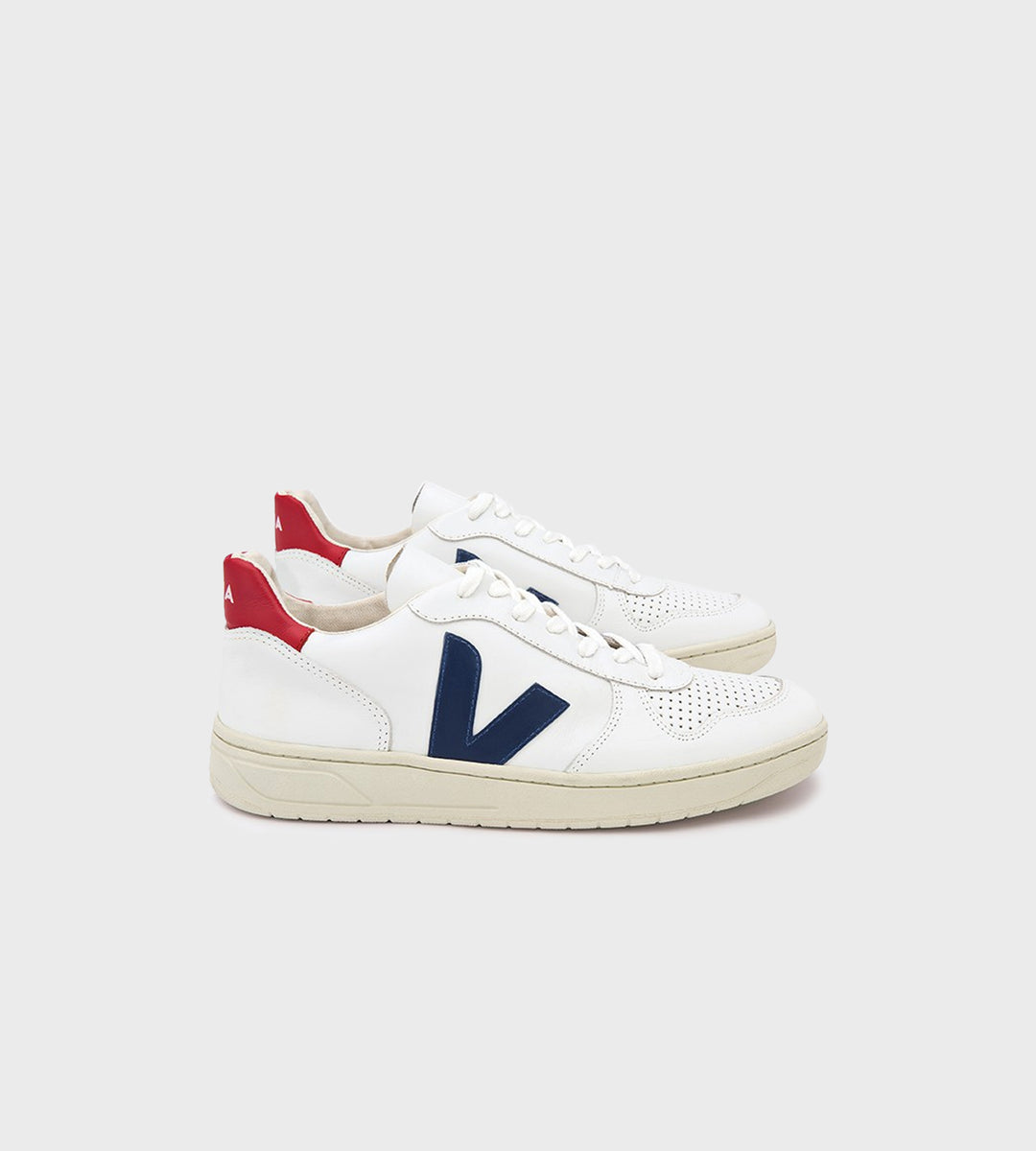 Veja V10 Leather Sneaker Extra White Nautico Pekin