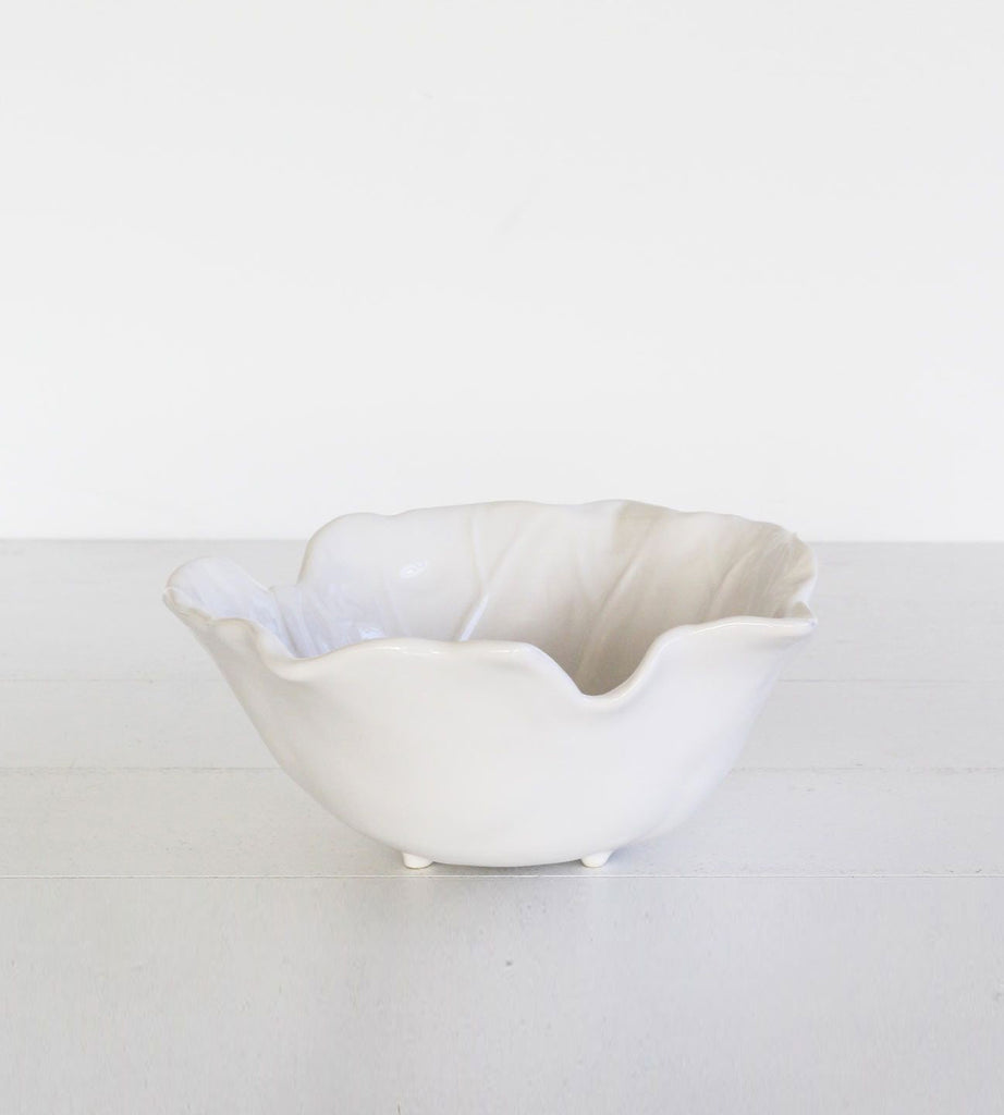 White Ceramic Leaf Bowl