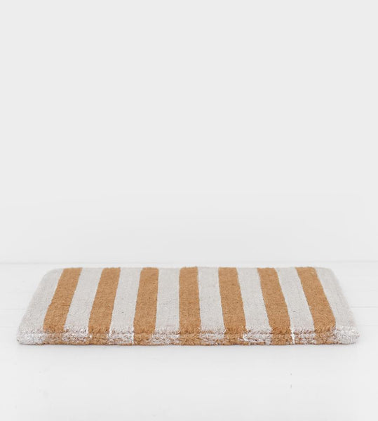 White & Natural Stripes Doormat