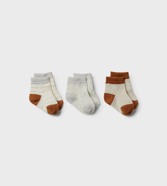 Wilson & Frenchy | 3 Pack Baby Socks | Cloud, Grey Melange, Oatmeal