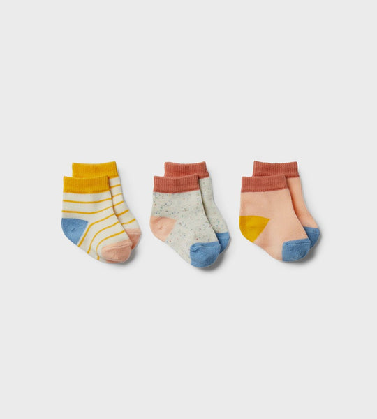 Wilson & Frenchy | 3 Pack Baby Socks | Golden Apricot, Tropical Peach, Clay