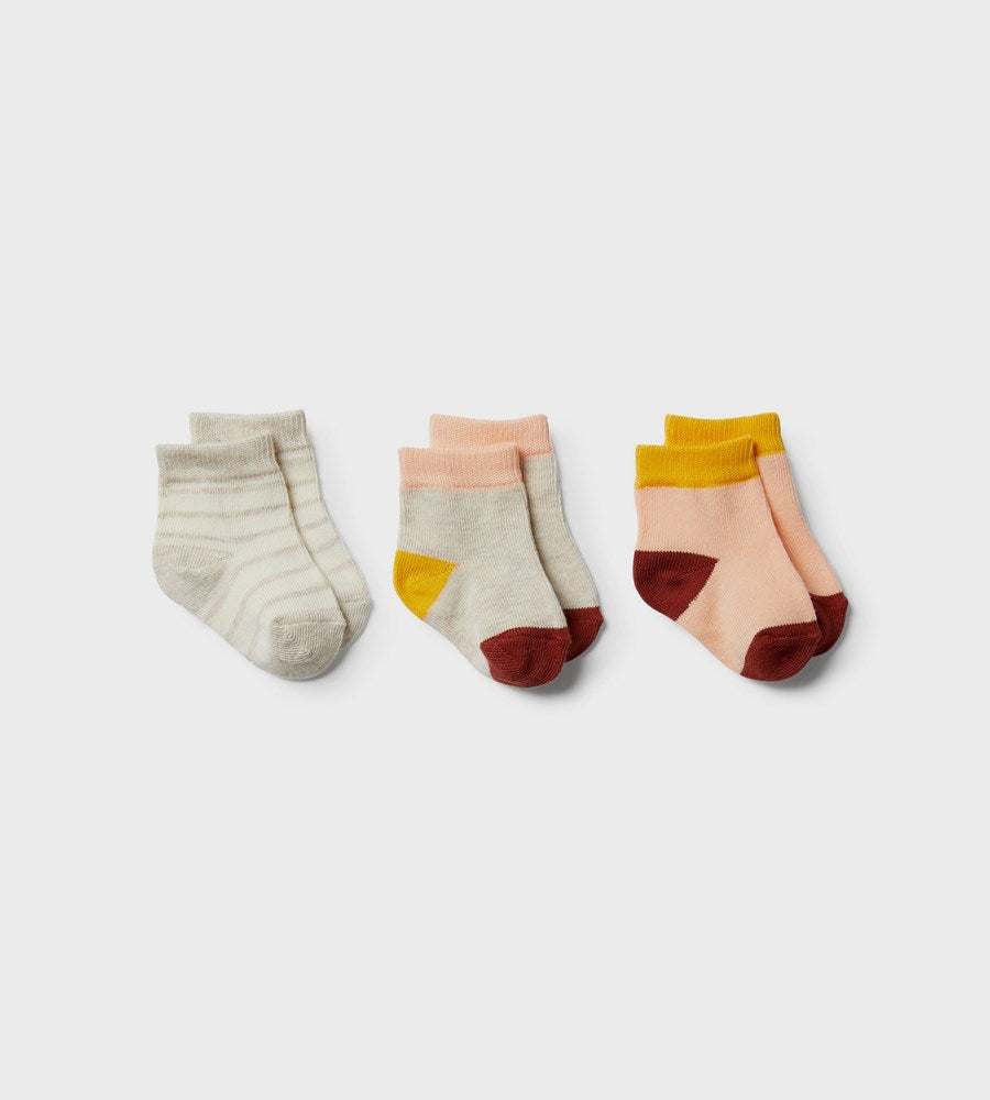 Wilson & Frenchy | 3 Pack Baby Socks | Peachy, Chilli, Golden Apricot