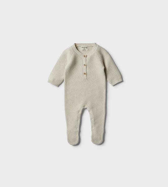 Wilson & Frenchy | Footed Knitted Growsuit | Oatmeal