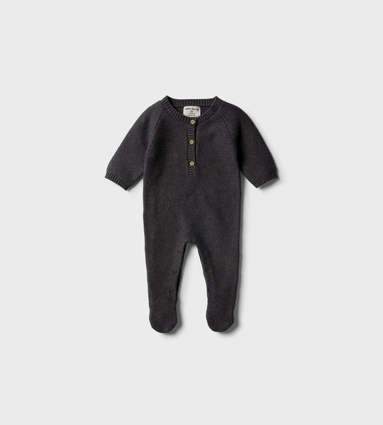 Wilson & Frenchy | Footed Knitted Growsuit | Storm Grey