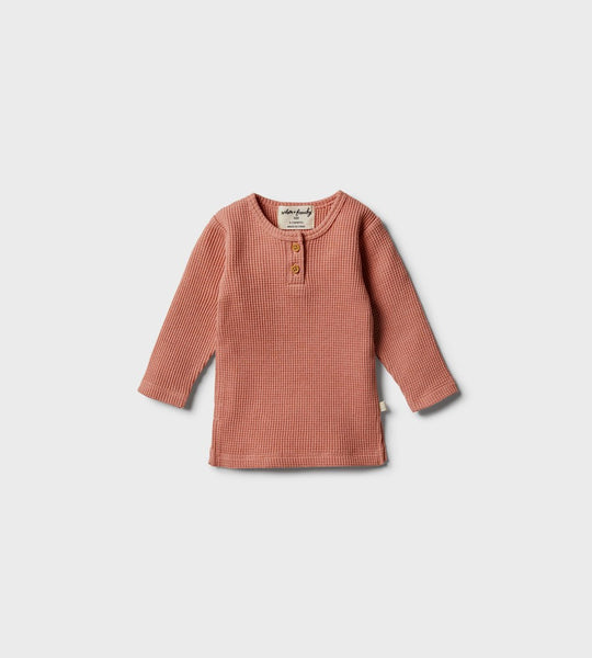 Wilson & Frenchy | Waffle Henley Top | Peachy