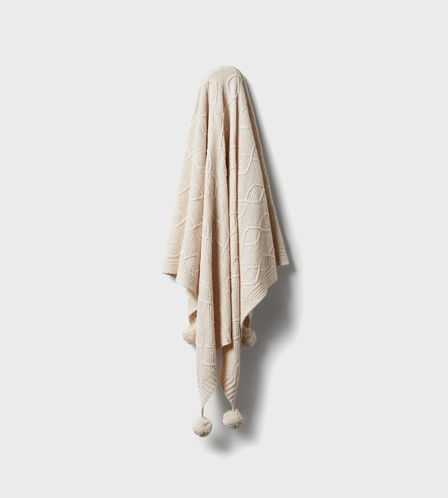 Wilson & Frenchy | Knitted Cable Blanket | Whisper White Fleck