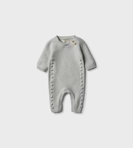 Wilson & Frenchy | Knitted Growsuit with Baubles | Cloud Grey
