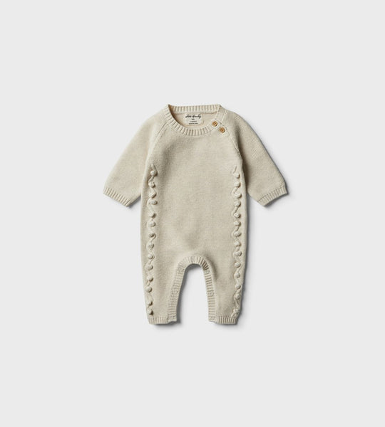 Wilson & Frenchy | Knitted Growsuit with Baubles | Oatmeal