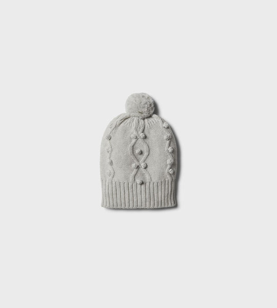Wilson & Frenchy | Knitted Hat with Baubles | Cloud Grey