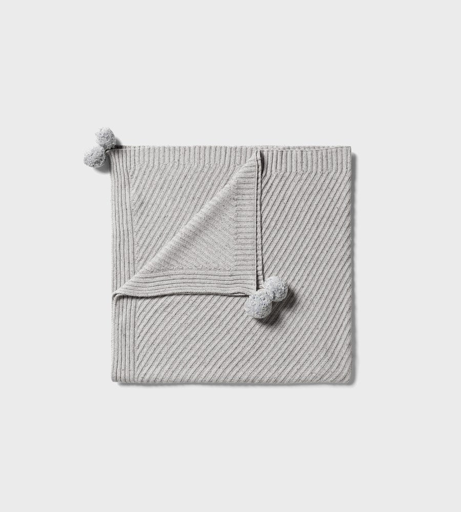 Wilson & Frenchy | Knitted Jacquard Blanket | Glacier Grey Fleck