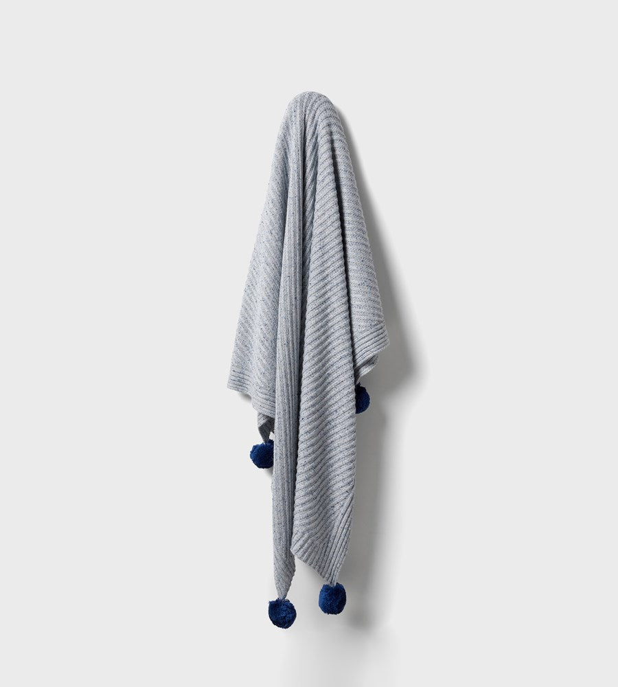 Wilson & Frenchy | Knitted Jacquard Blanket | Navy Peony Fleck