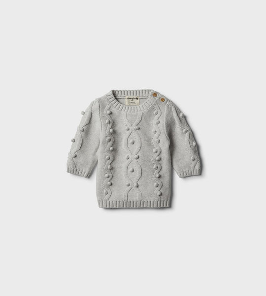 Wilson & Frenchy | Knitted Jumper with Baubles | Cloud Grey