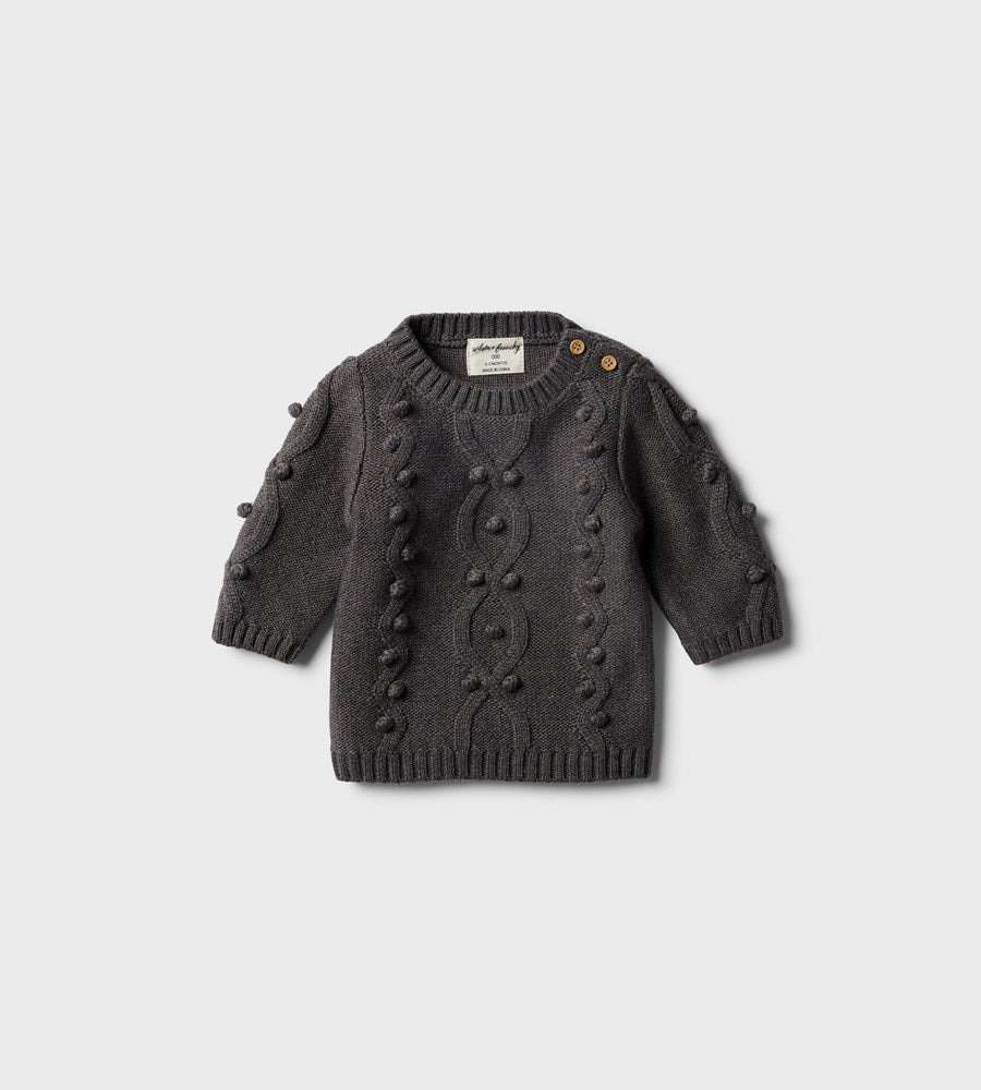 Wilson & Frenchy | Knitted Jumper with Baubles | Storm Grey