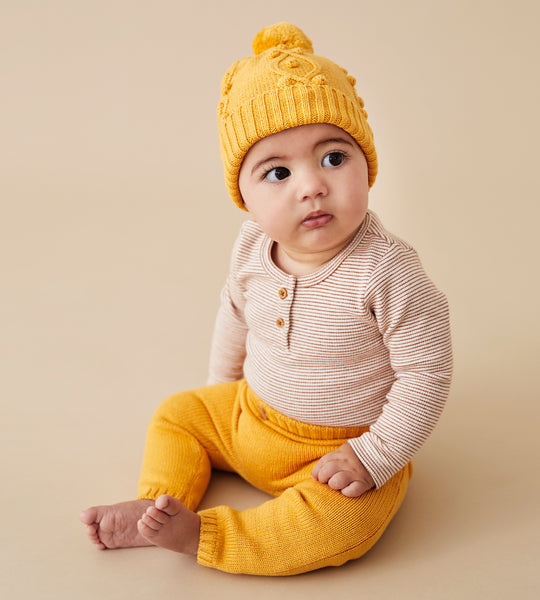 Wilson & Frenchy | Knitted Hat with Baubles | Golden Apricot