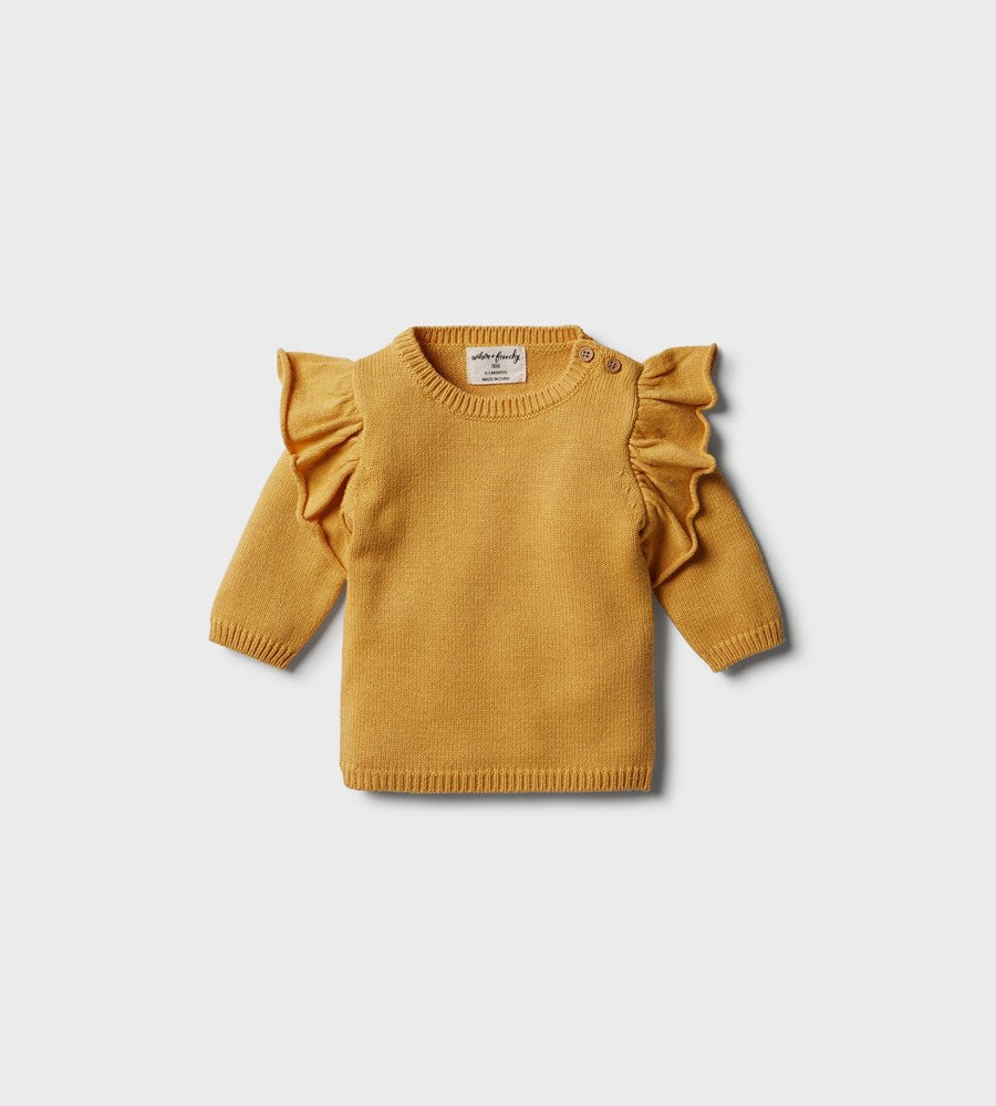 Wilson & Frenchy | Knitted Ruffle Jumper | Golden Apricot