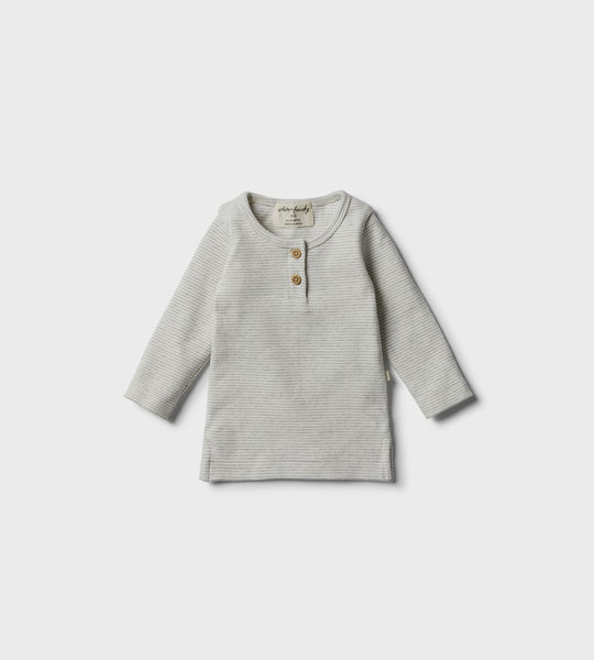 Wilson & Frenchy | Organic Henley Top | Cloud Grey
