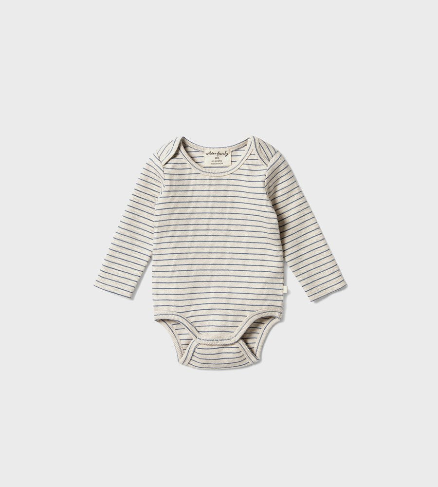 Wilson & Frenchy | Organic Stripe Rib Bodysuit | Denim Blue