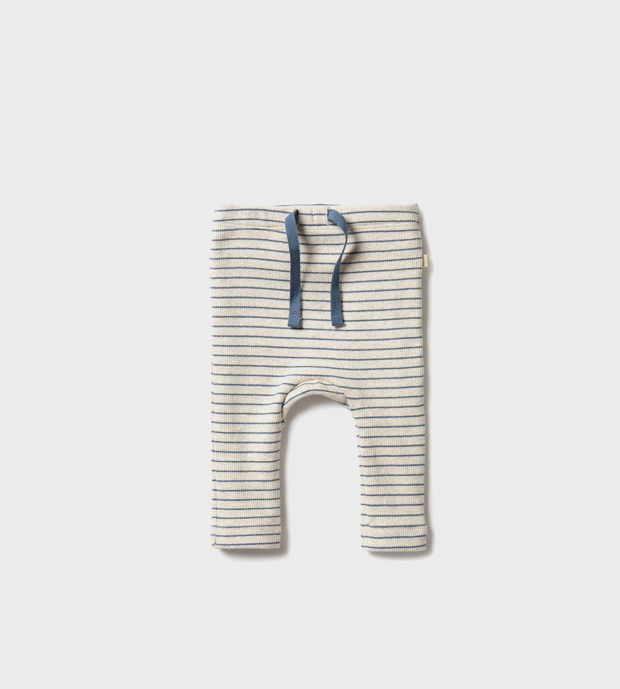Wilson & Frenchy | Organic Stripe Rib Legging | Denim Blue