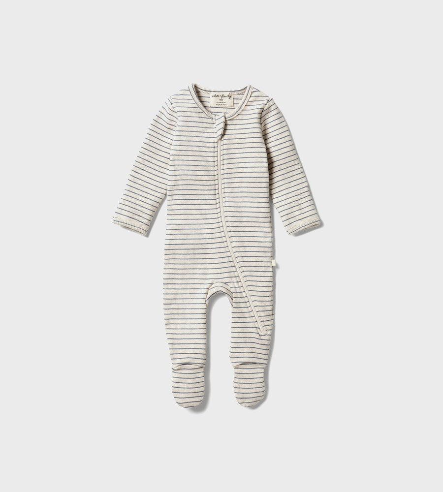 Wilson & Frenchy | Organic Stripe Rib Zipsuit | Denim Blue