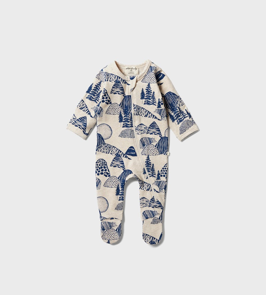 Wilson & Frenchy | Organic Zipsuit with Feet | Little Mountains