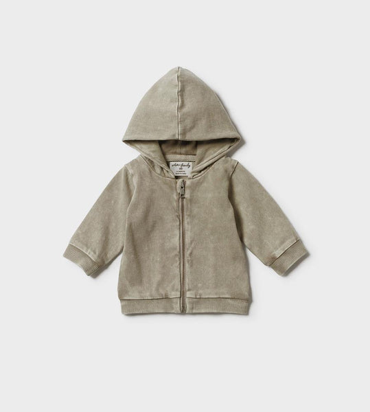 Wilson & Frenchy | Washed Back Hooded Jacket With Zip | Putty