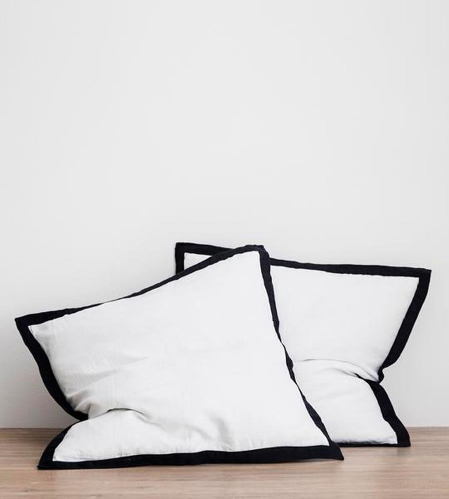 Cultiver | Linen European Pillowcase Pair | White Border with Navy