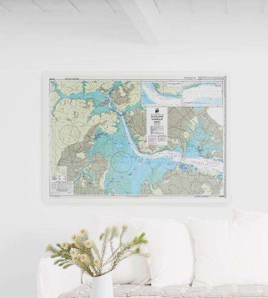 Marine Map | Framed | Auckland West Harbour