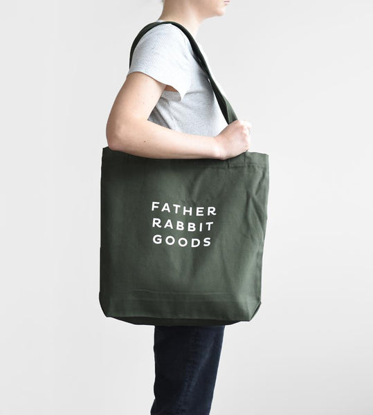 Father Rabbit Goods | Cotton Canvas Tote | Khaki