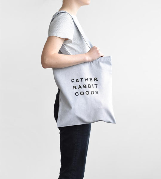 Father Rabbit Goods | Small Cotton Canvas Tote | Grey