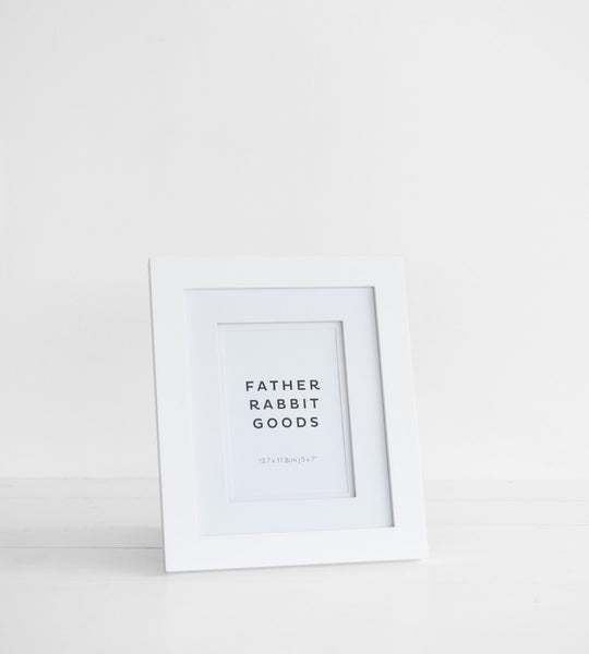 Father Rabbit Goods | White Photo Frame with Mat 5 x 7 inches