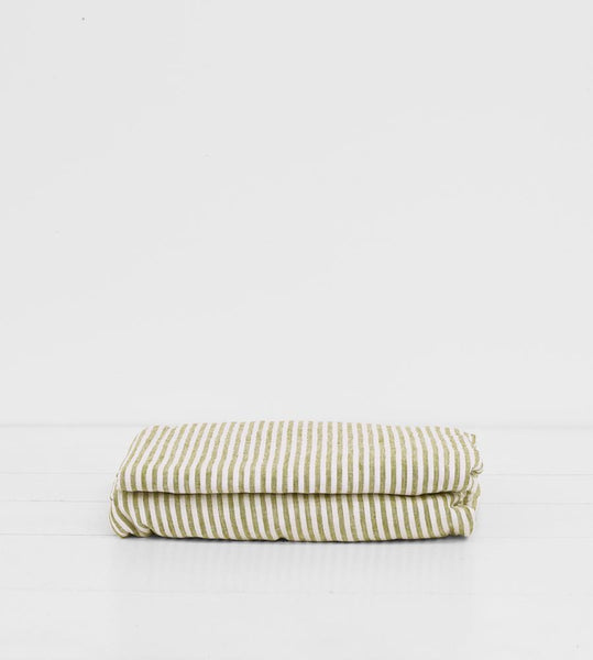 Father Rabbit | Linen Fitted Sheet | Olive Stripe