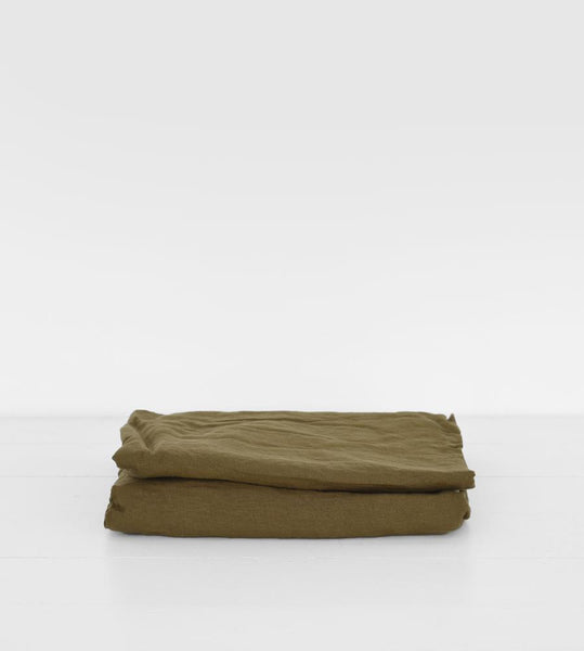 Father Rabbit | Linen Fitted Sheet | Olive